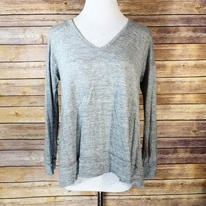 Madewell Grey All Around Long Sleeve Tee Blouse